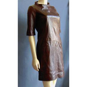 Carolina Herrera Brown Leather Dress 4